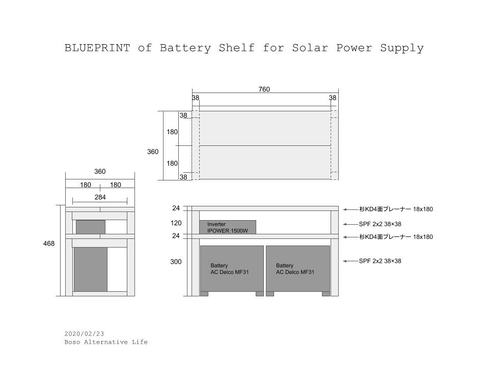 ソーラー発電 バッテリーとインバーター を収納する棚をDIY 図面