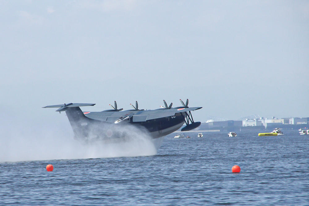 海上自衛隊 救難救助艇 US-2 東京湾初フライバイ 着水-離水 Redbull Air Race 2019 JMSDF Rescue Flight Boat US-2