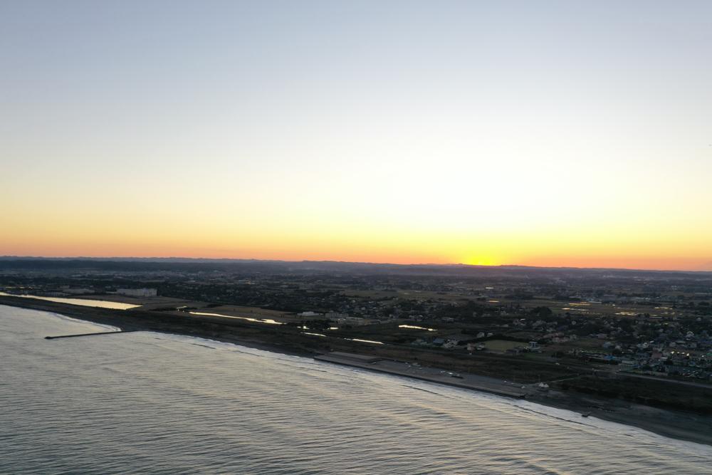 房総半島に沈む夕陽