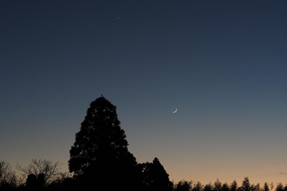 綺麗な三日月と金星