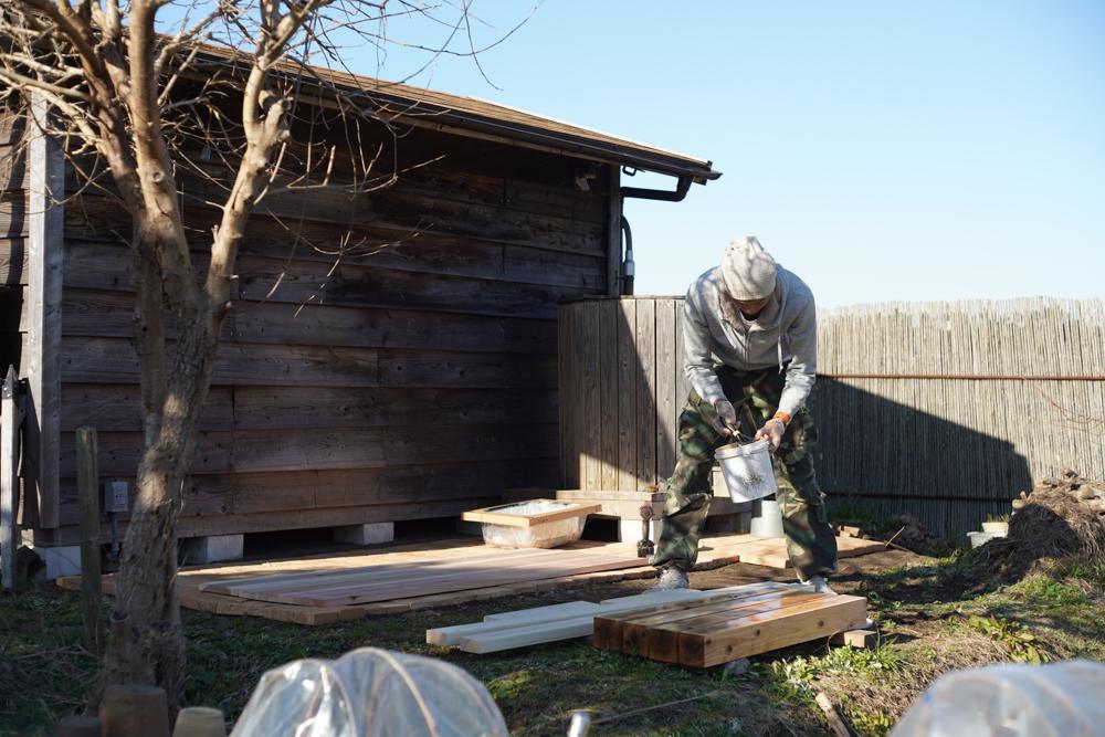 ガーデンシンクテーブル ウッドロングエコで防腐処理