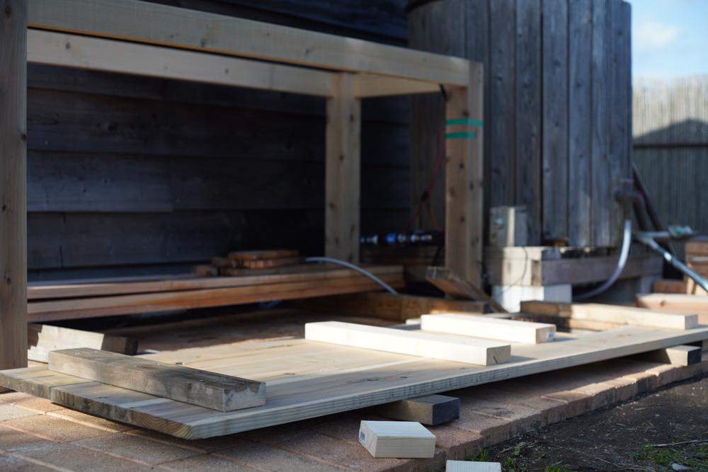 ガーデンシンクテーブルの天板結合