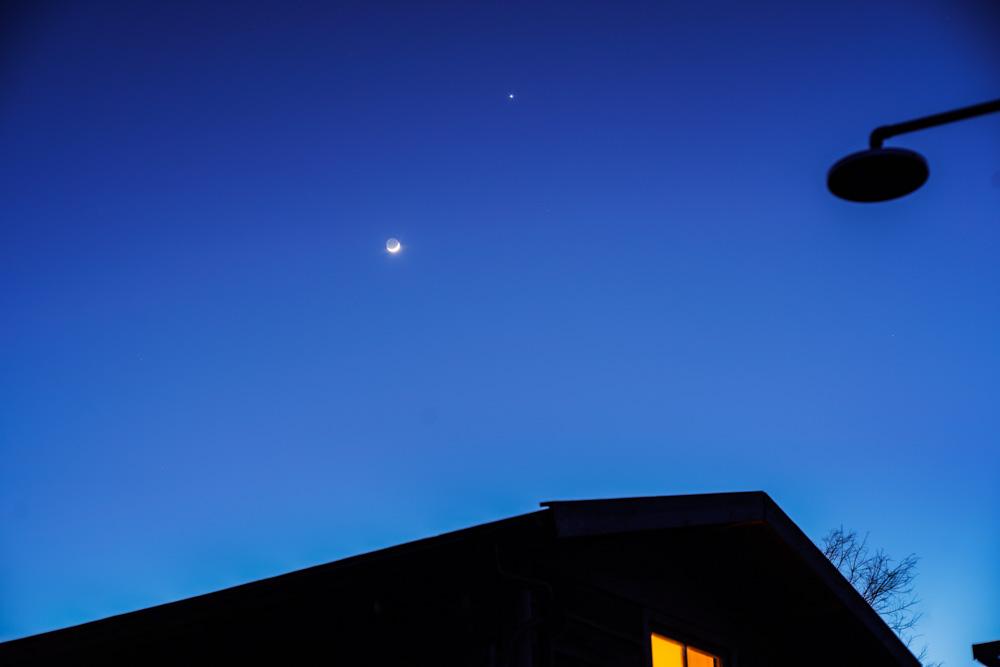 房総フィールド 三日月と金星