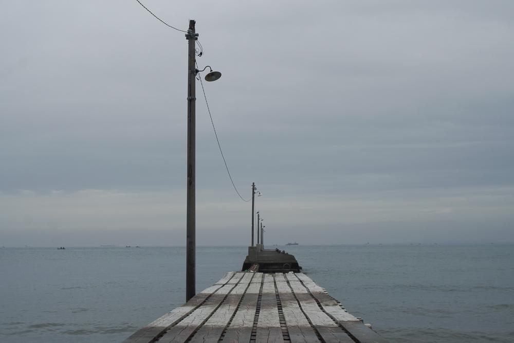 南房総 木製の桟橋 原岡桟橋(岡本桟橋)をドローン 空撮