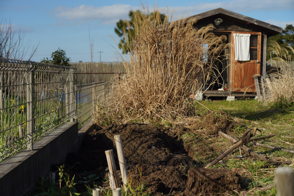 小屋前の畑を耕起