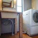 洗面所リノベーションDAY6 洗濯機Panasonic CUBLE(NA-VG740R)が届く、IKEAのシンクの組み立て、フレキケーブルを使い水栓と接続