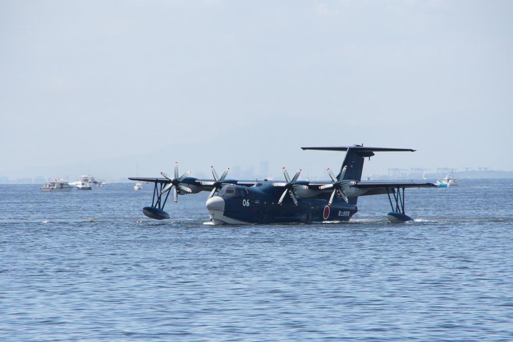 海上自衛隊 救難救助艇 US-2 東京湾初フライバイ 着水-離水 Redbull Air Race 2019 JMSDF Rescue Flight Boat US-2