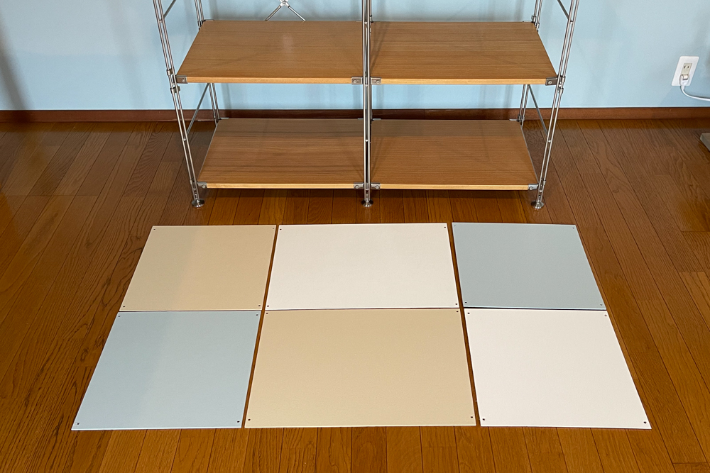 東京自宅 ロフト リノベーションDAY10  無印 MUJI SUS(ステンレスユニットシェルフ)にカラーパネルを取り付けチャールズ・イームズのESU(イームズストレージユニット)風にカスタマイズ