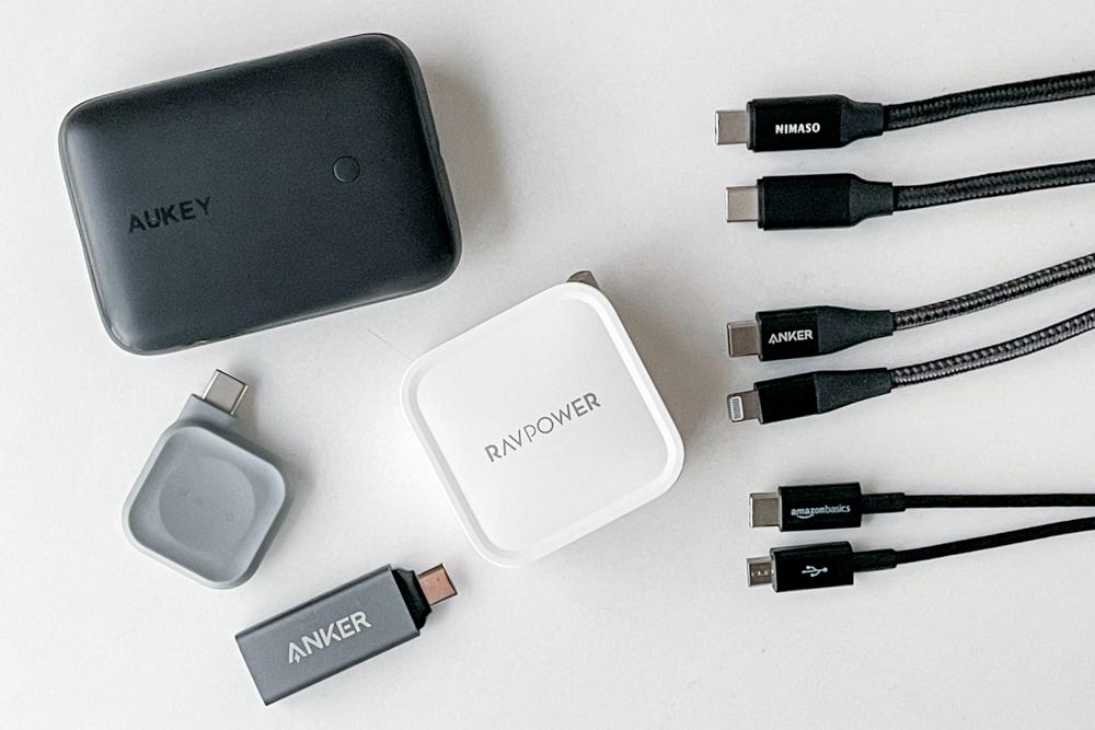 モバイルバッテリー AUKEY 10000mAh 20W+ケーブルをUSB-Cに統一+Maco Go Apple Watch USB-Cでモビリティを上げる モバイルデバイス軽量・コンパクト化大作戦