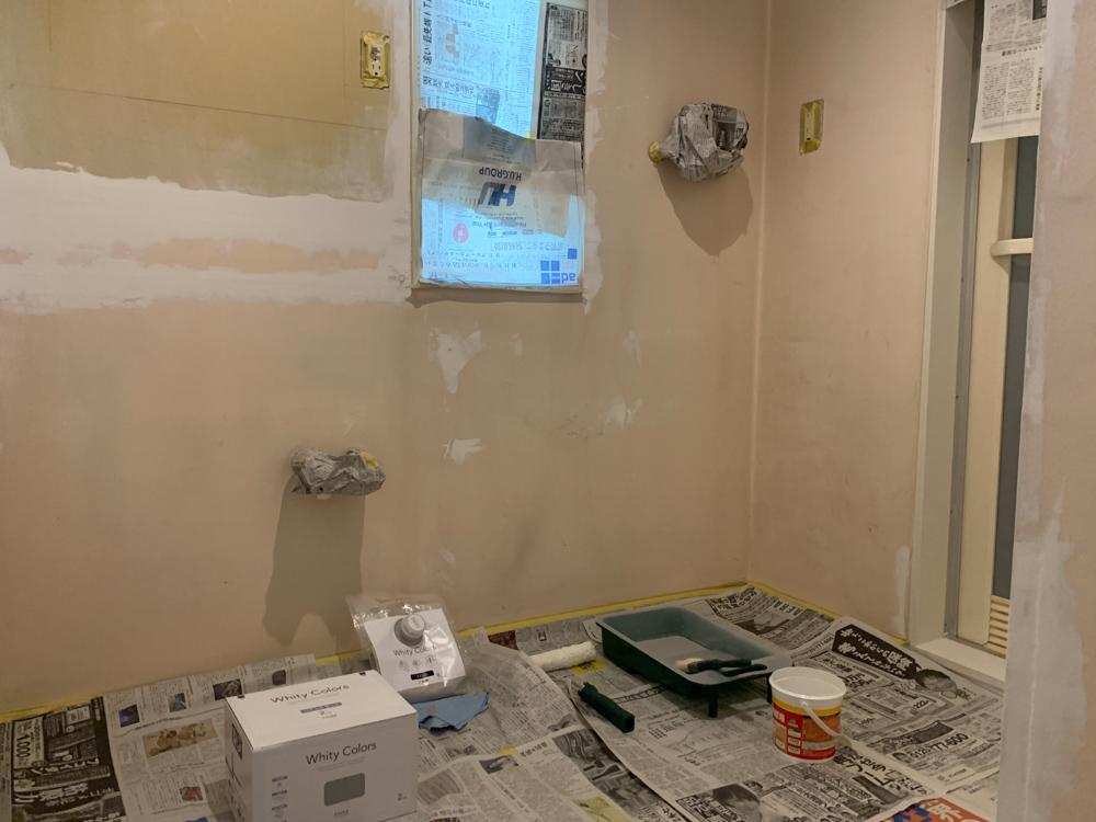 東京自宅の洗面所DIYリノベーション DAY2 天井と壁のペンキ2色塗り