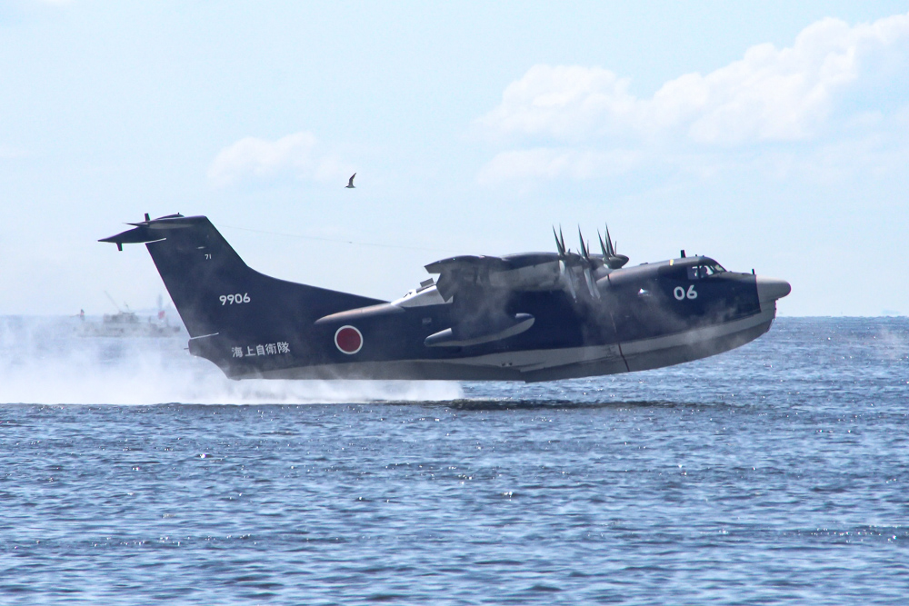 X海上自衛隊 救難救助艇 US-2 東京湾初フライバイ 着水-離水 Redbull Air Race 2019 JMSDF Rescue Flight Boat US-2