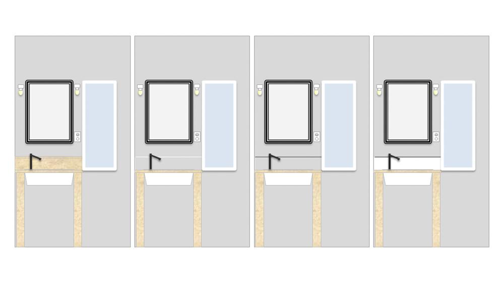 東京自宅の洗面所DIYリノベーション DAY5 水はね用板とハングマンを使った鏡の取付